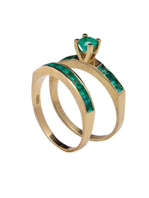 anillo esmeraldas y oro bisel carre - Mercurio Joyeria