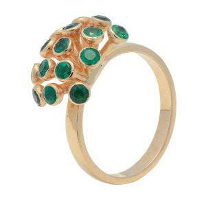 anillo esmeralda-flor Mercurio Joyeria