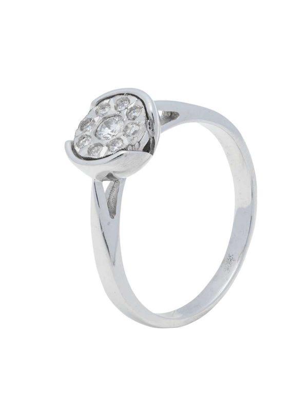 Anillo oro blanco Diamantes Mercurio Joyeria