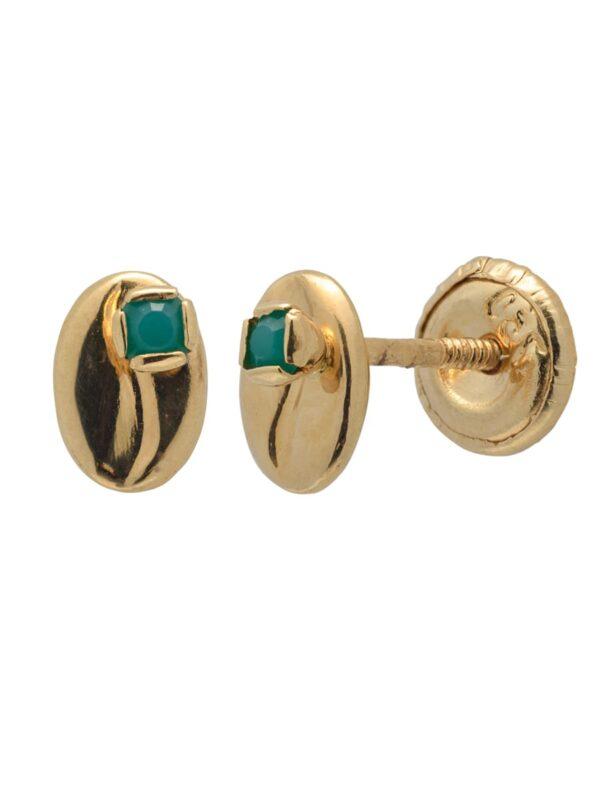 Aretes con Jade en oro 18k